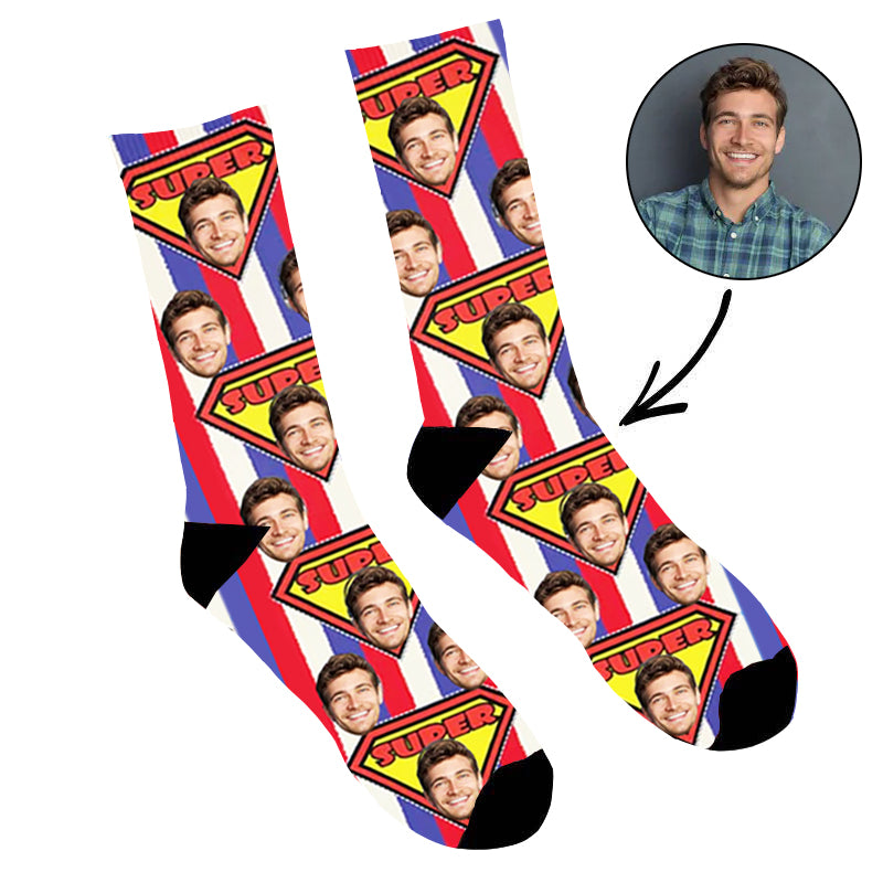 Custom Face Socks Super Face - Make Custom Gifts