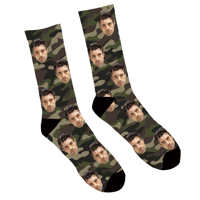 Custom Face Socks Camo Photo Socks - Make Custom Gifts