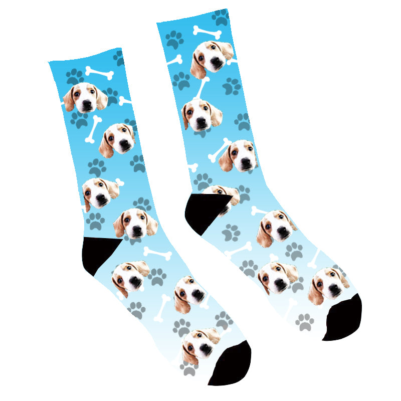 Custom Face Socks Gradient Dog Footprint Blue - Make Custom Gifts
