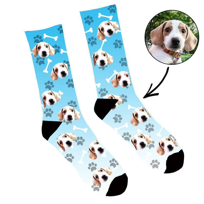 Custom Face Socks Gradient Dog Footprint Blue