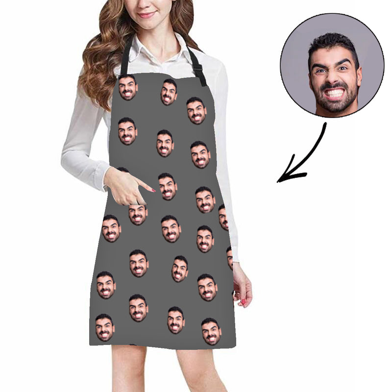 Custom Photo Apron Merry Christmas Face Apron