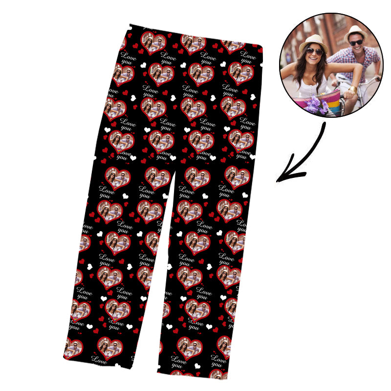 Father's Day Custom Photo Pajamas Pants Love You