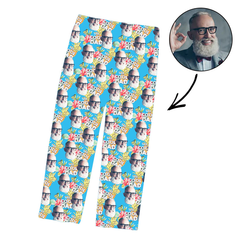 Father's Day Custom Photo Pajamas Pants Cool Dad