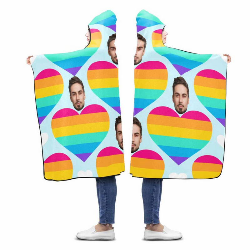 Custom Face Rainbow Love Heart Hooded Blanket - Make Custom Gifts