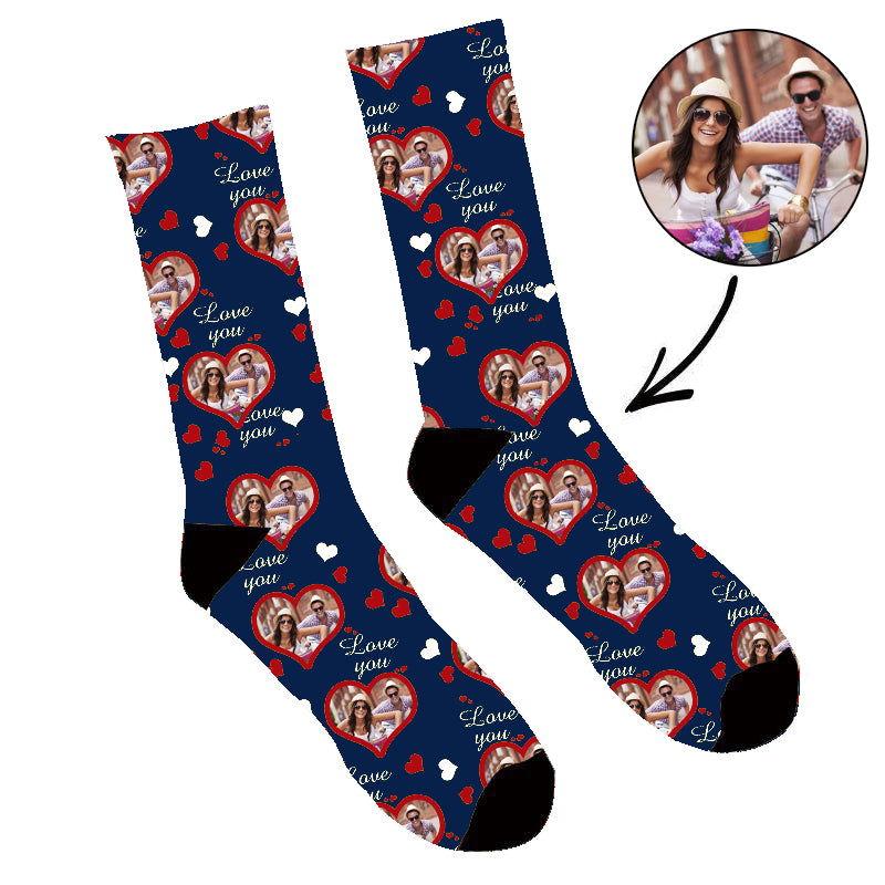 Father's Day Custom Photo Face Socks Love You