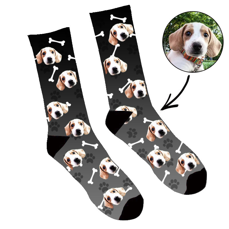 Custom Face Socks Gradient Dog Footprint Black