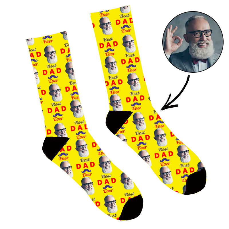 Father's Day Custom Photo Face Socks Best Dad