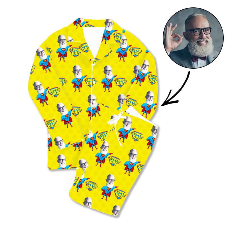 Father's Day Custom Photo Pajamas Super Dad