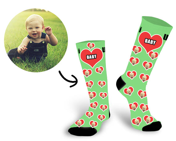 Custom Baby Face In The Heart Face Socks - Make Custom Gifts