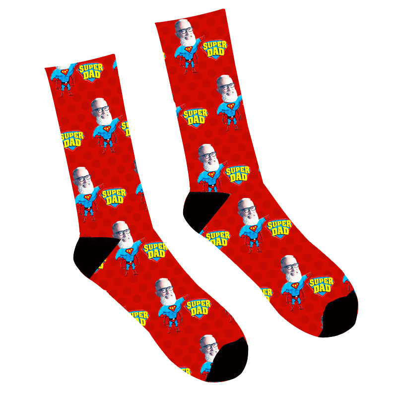 Father's Day Custom Photo Face Socks Super Dad