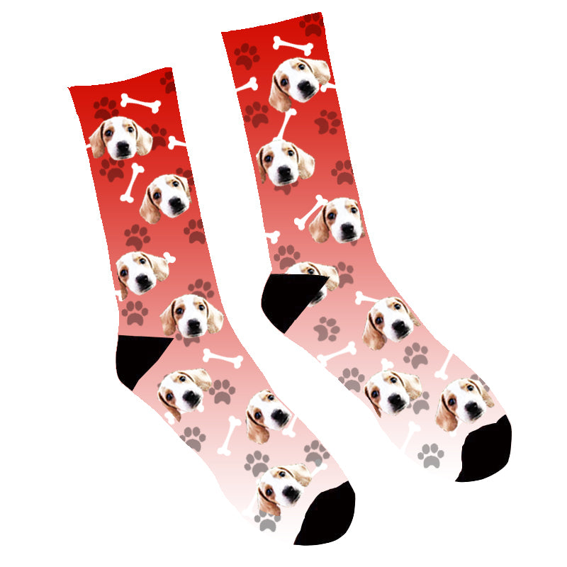 Custom Face Socks Gradient Dog Footprint  Red