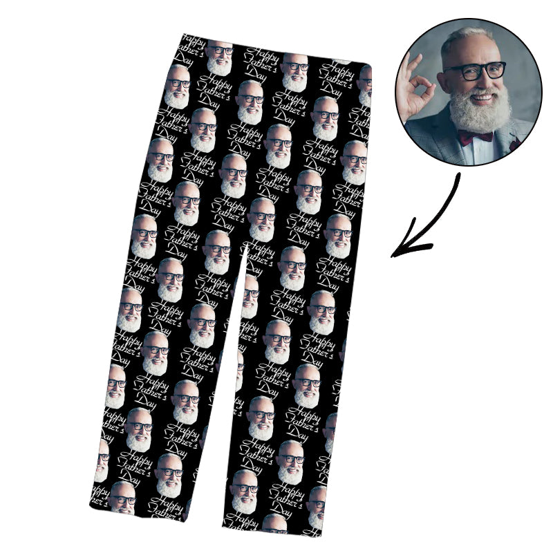 Father's Day Custom Photo Pajamas Pants Happy Fathday's Day