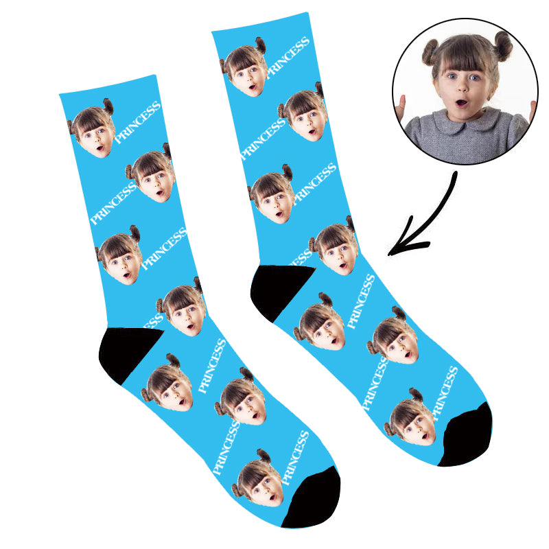 Father's Day Custom Photo Face Socks Princess