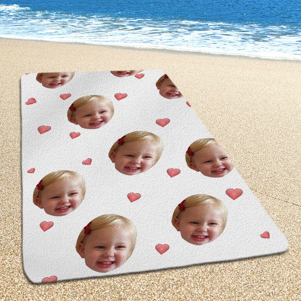 Custom Beach Towel Couple's Face Photo Towel