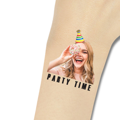 Custom Tattoos Party Time Face Tattoos - Make Custom Gifts