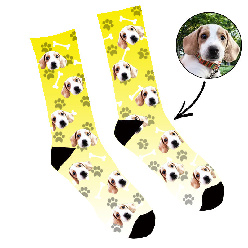Custom Face Socks Gradient Dog Footprint  Yellow