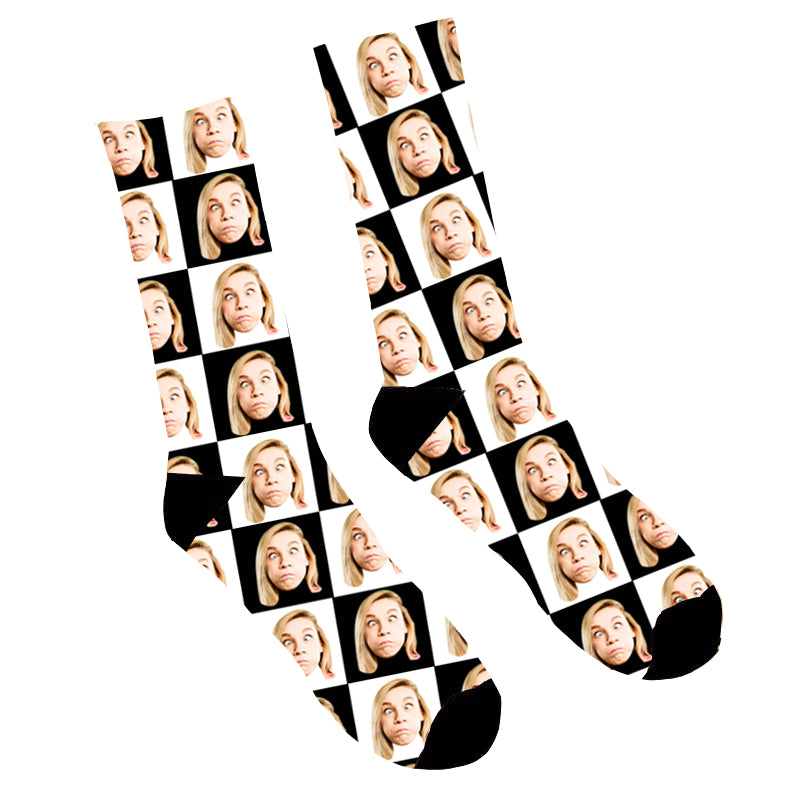 Custom Face Socks Black And White - Make Custom Gifts