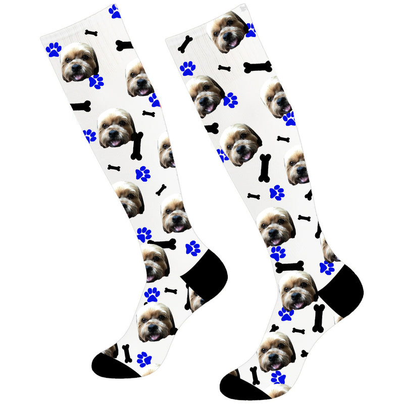 Custom Dog Footprint Photo Soccer Socks Knee High - Make Custom Gifts