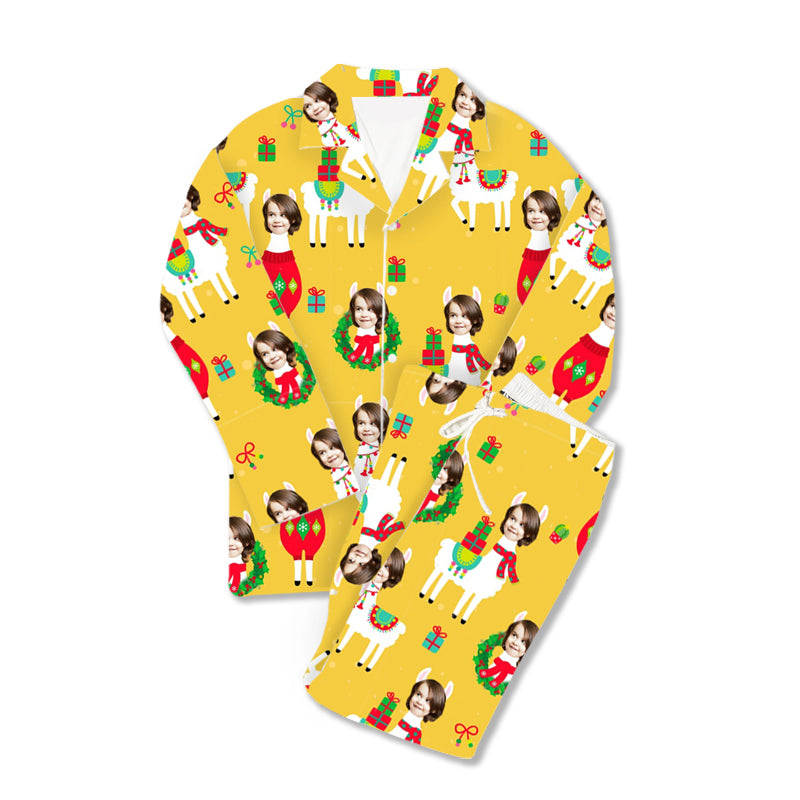Custom Christmas Photo Pajamas Fa La Llama - Make Custom Gifts