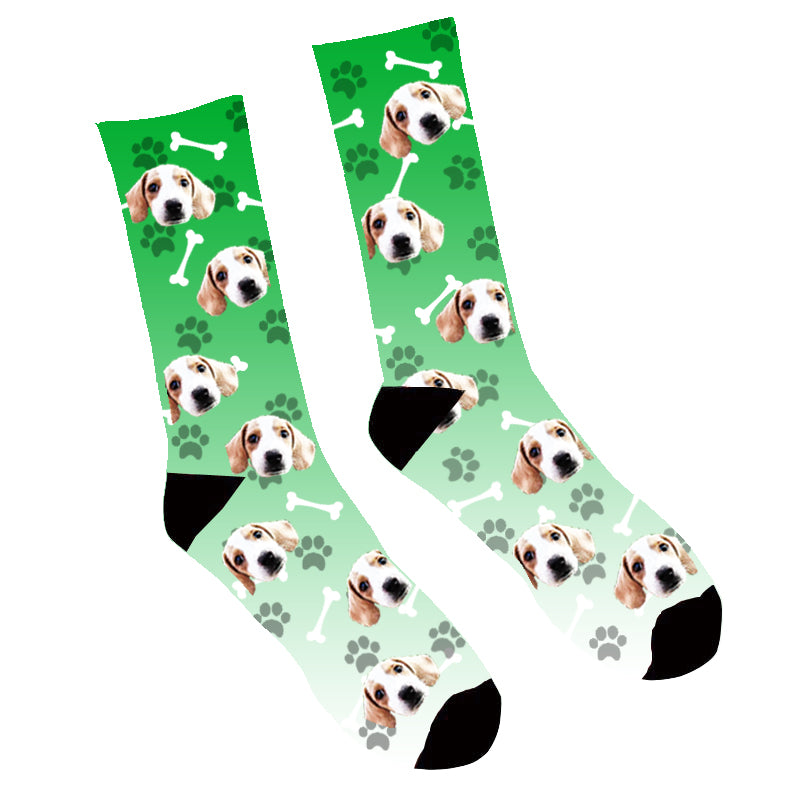 Custom Face Socks Gradient Dog Footprintt Green