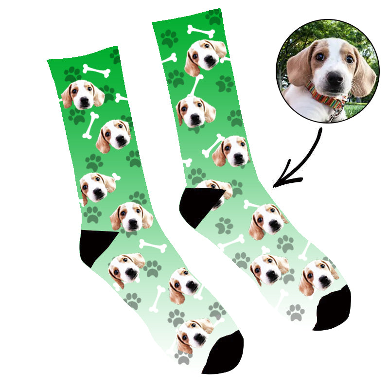Custom Face Socks Gradient Dog Footprintt Green - Make Custom Gifts