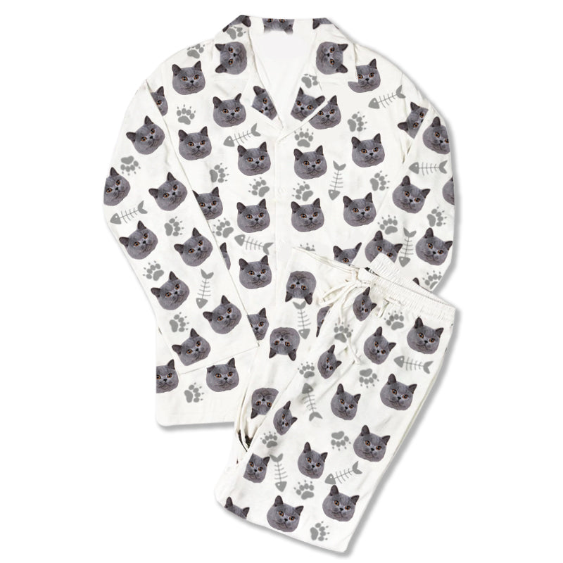 Custom Photo Pajamas Cat Footprint White - Make Custom Gifts