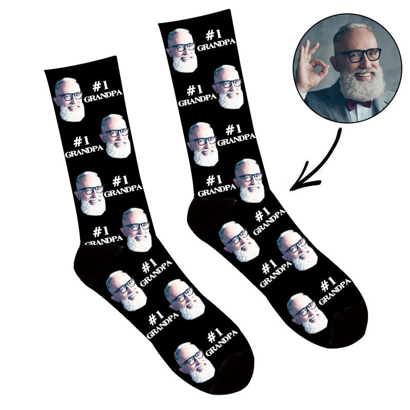 Father's Day Custom Photo Face Socks #1 Grandpa