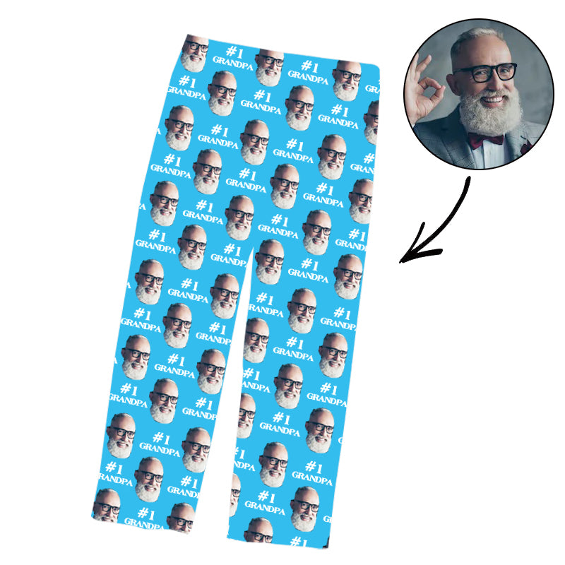 Father's Day Custom Photo Pajamas Pants #1 Grandpa