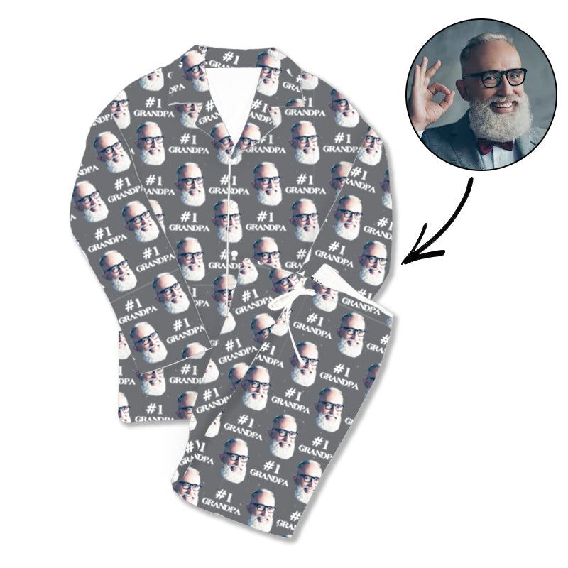 Father's Day Custom Photo Pajamas #1 Grandpa Grey