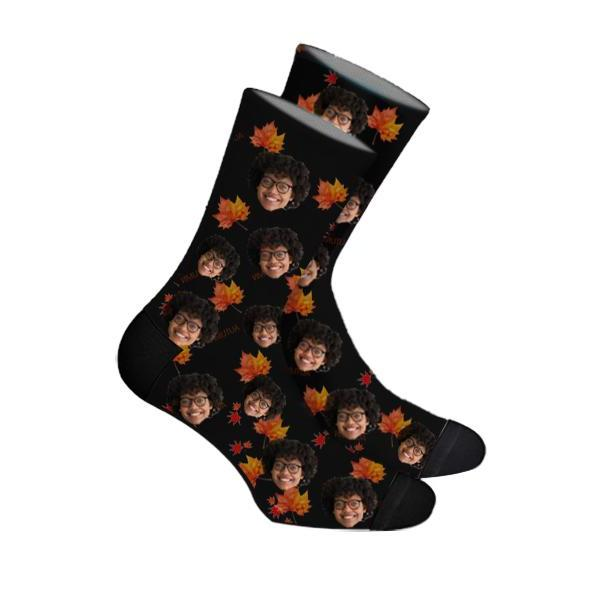 Custom Maple Leaf Face Socks Photo Socks - Make Custom Gifts