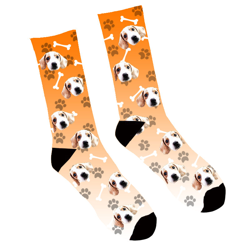 Custom Face Socks Gradient Dog Footprint Orange - Make Custom Gifts