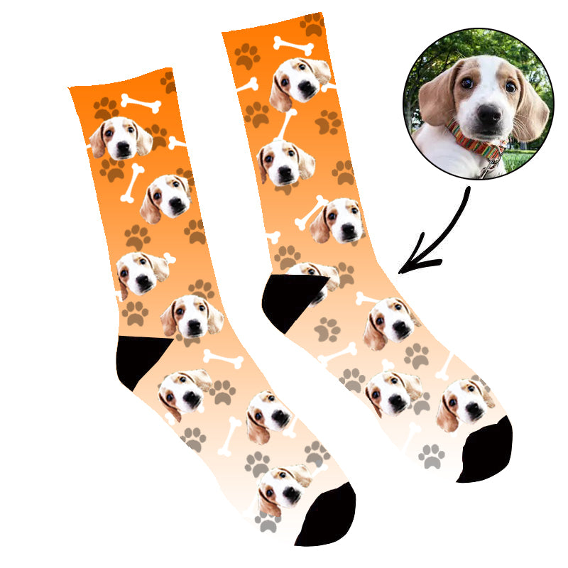 Custom Face Socks Gradient Dog Footprint Orange