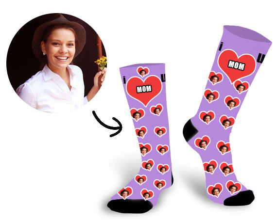 Custom Mom Face In The Heart Face Socks - Make Custom Gifts