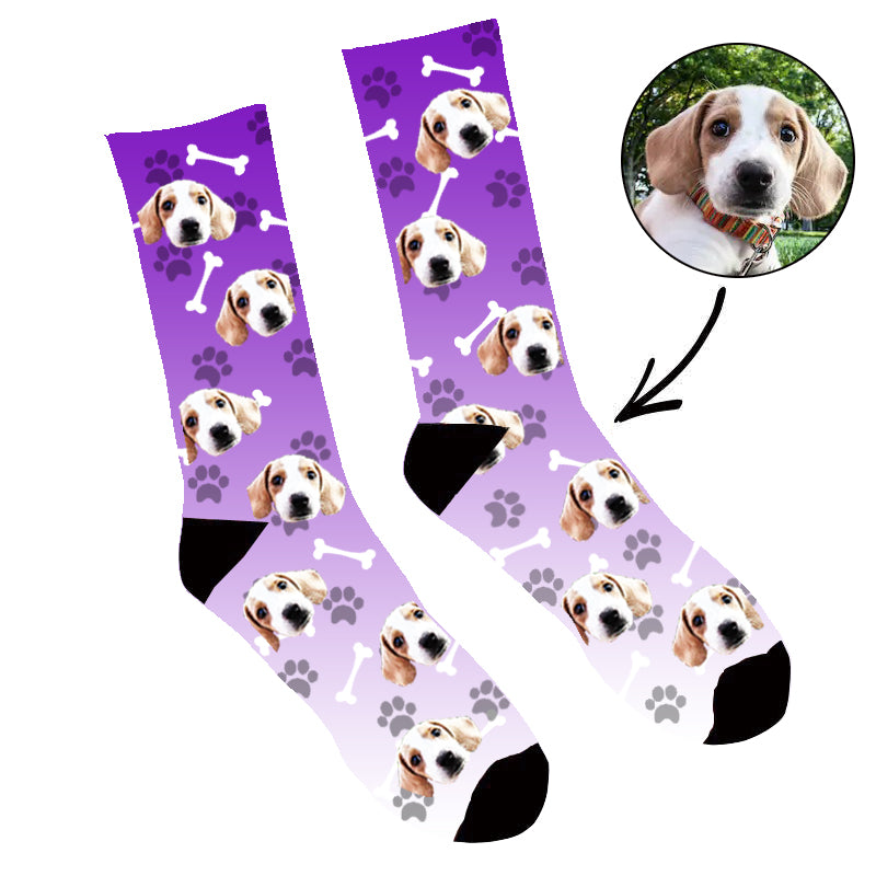 Custom Face Socks Gradient Dog Footprint Purple
