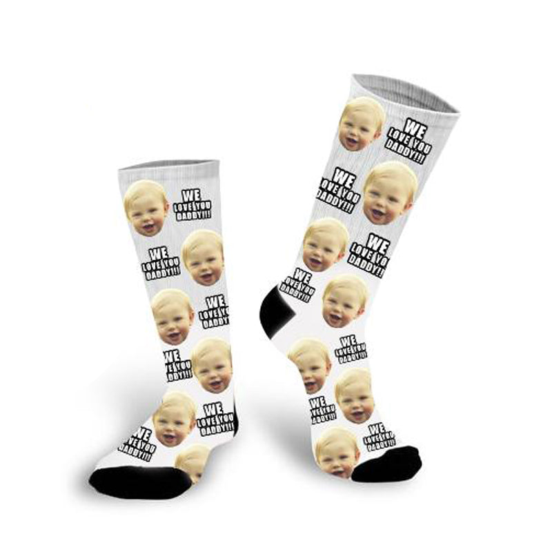 Custom Face Socks With Words We Love You Daddy Photo Socks - Make Custom Gifts