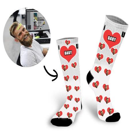 Custom Super Dad Face In The Heart Face Socks - Make Custom Gifts