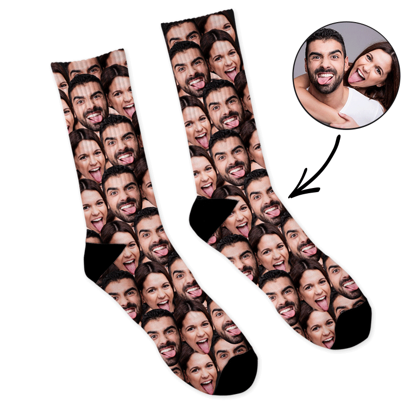 Custom Face Socks With Words We Love You Daddy Photo Socks