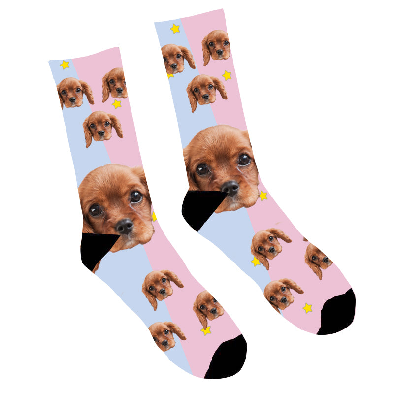 Custom Face Socks Pink Dog Face - Make Custom Gifts