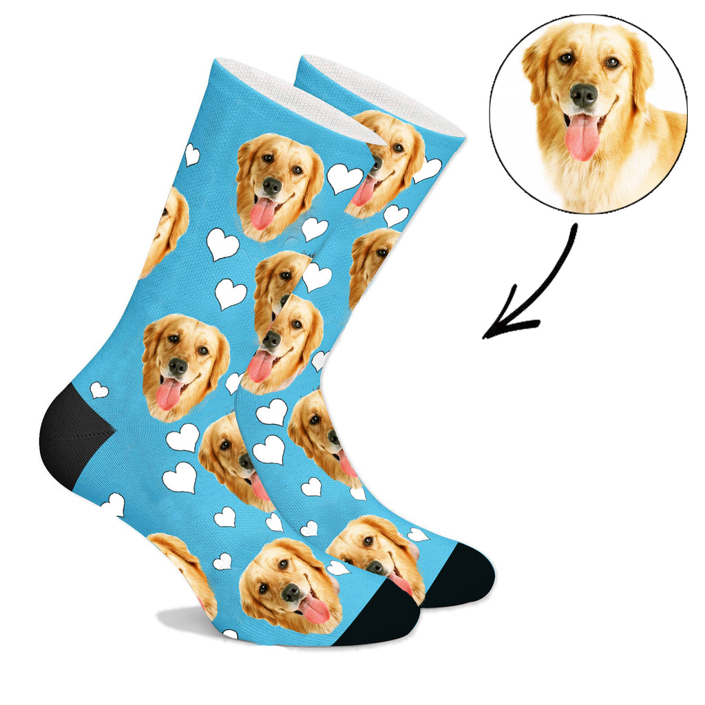 Custom Face Socks With Heart Dog