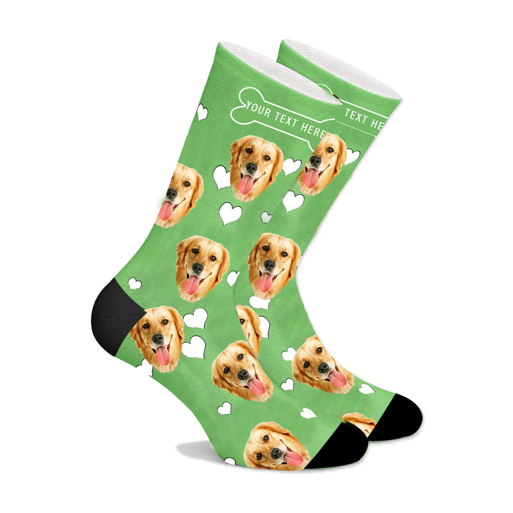 Custom Christmas Face Socks With Heart Dog  And Property Of Name - Make Custom Gifts