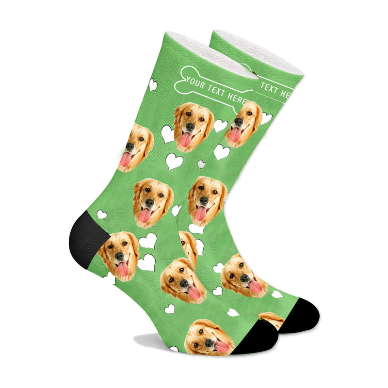 Custom Face Socks With Heart Dog - Make Custom Gifts