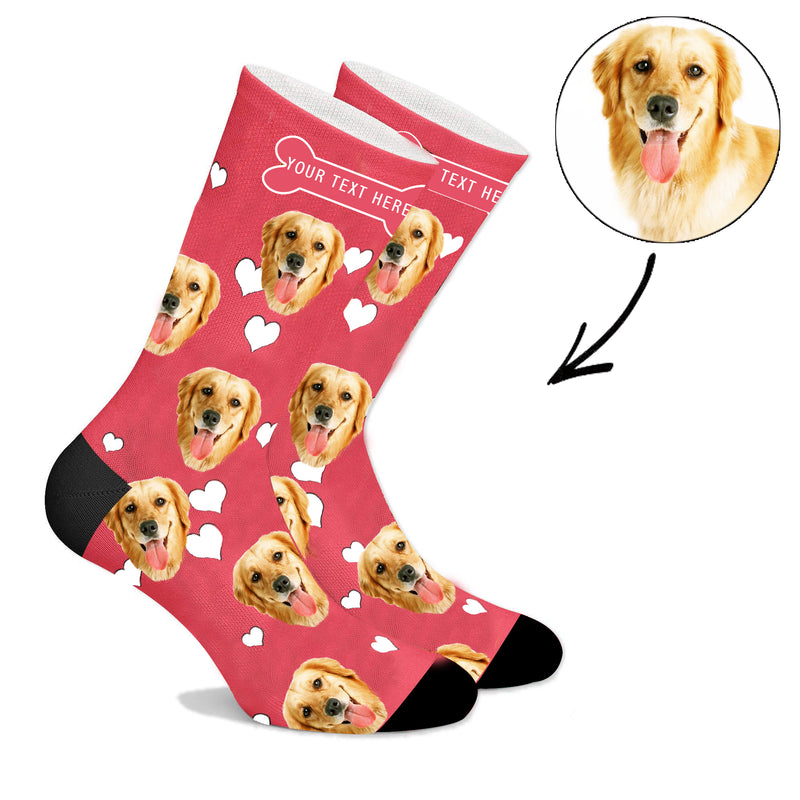 Custom Christmas Face Socks With Heart Dog  And Property Of Name