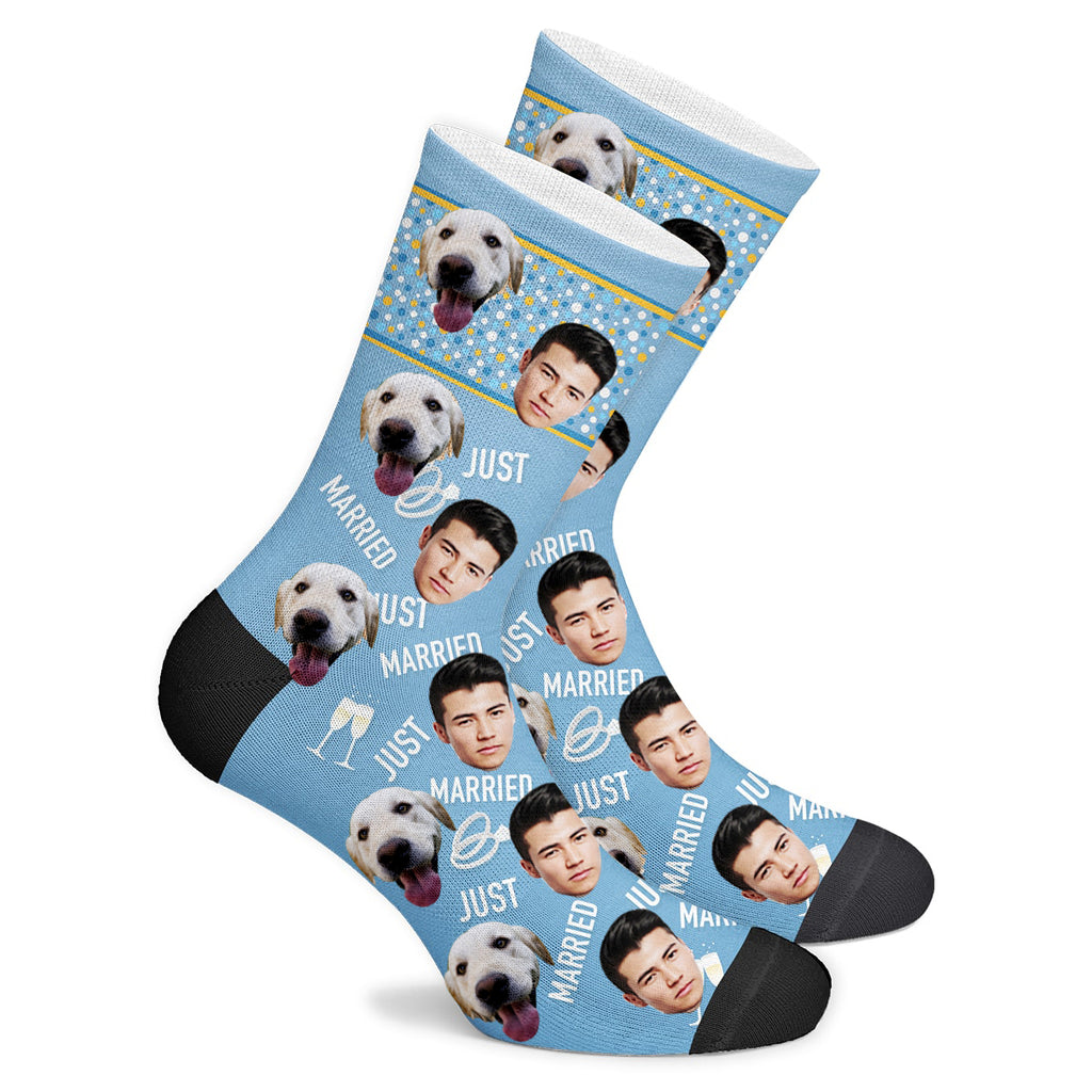 Custom Just Married Face Socks Photo Socks - Make Custom Gifts