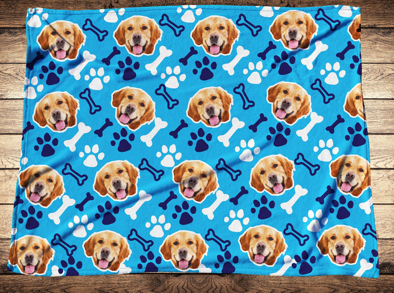 Custom Footprint Dog Face Fleece Photo Blanket - Make Custom Gifts