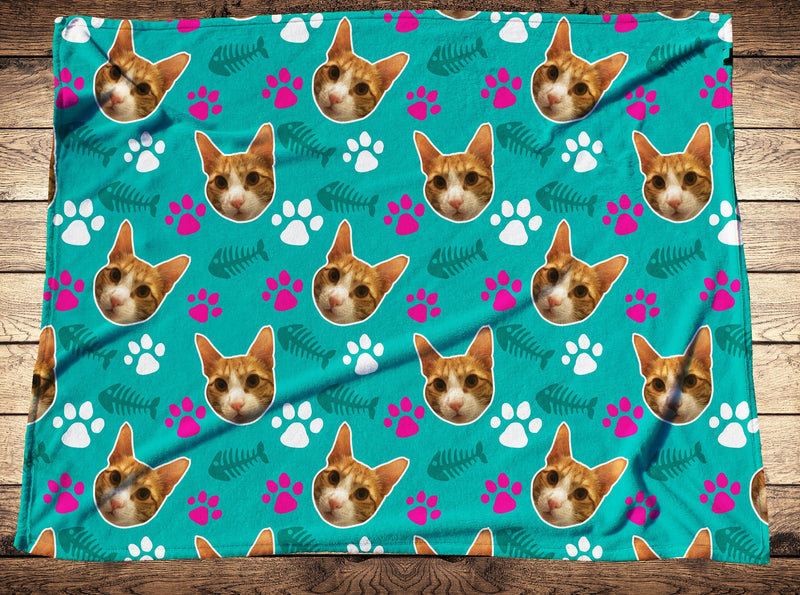 Custom Footprint Cat Face Fleece Photo Blanket - Make Custom Gifts