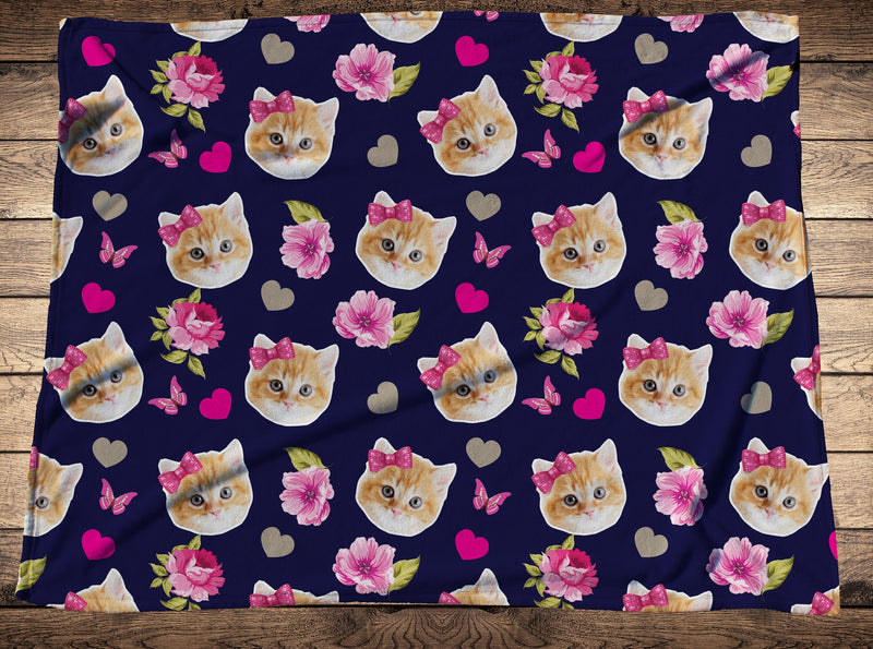 Custom Flower Cat Face Fleece Photo Blanket - Make Custom Gifts