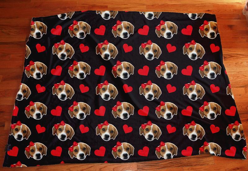 Custom Heart Dog Face Fleece Photo Blanket - Make Custom Gifts