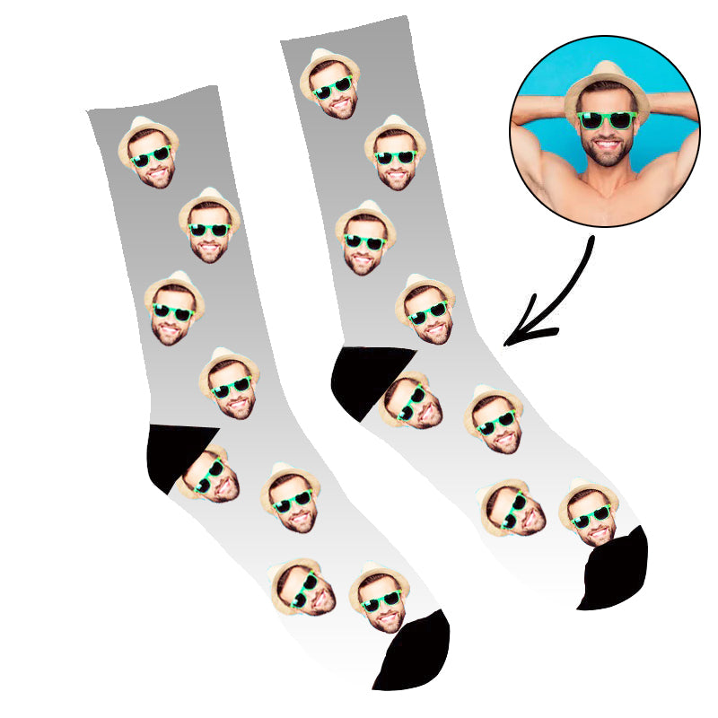 Custom Face Socks Gradient  Grey - Make Custom Gifts