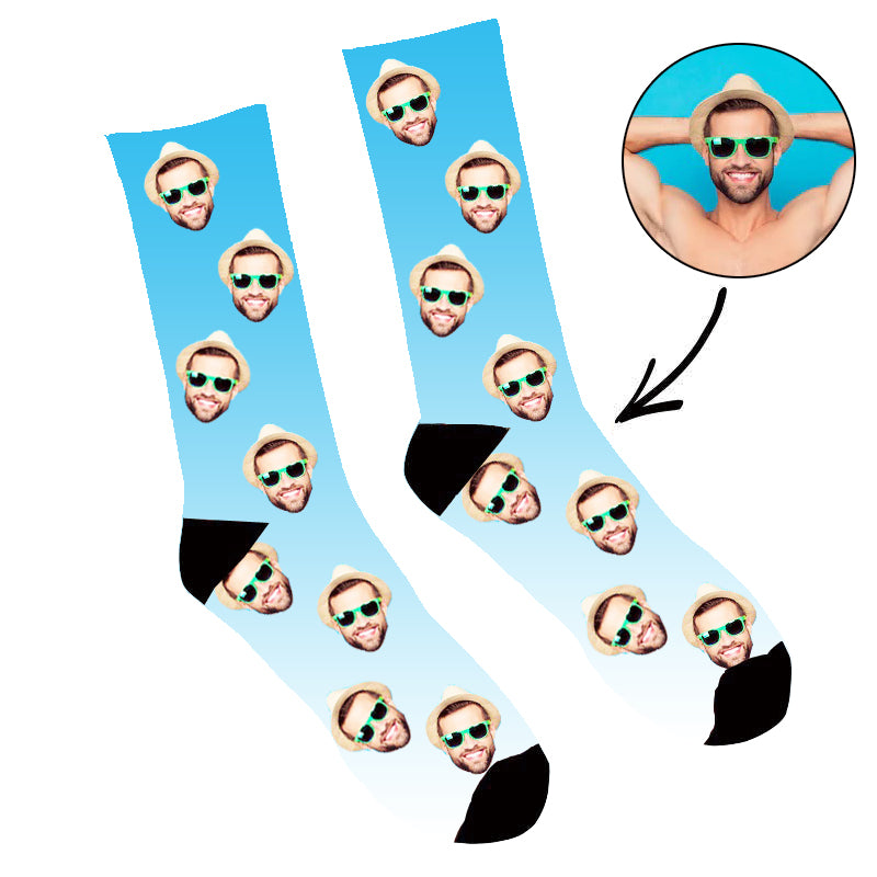 Custom Face Socks Gradient Blue - Make Custom Gifts