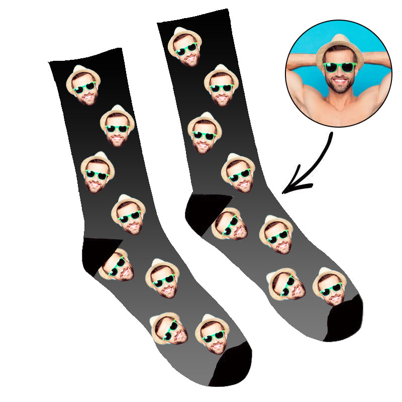 Custom Face Socks Gradient Black - Make Custom Gifts